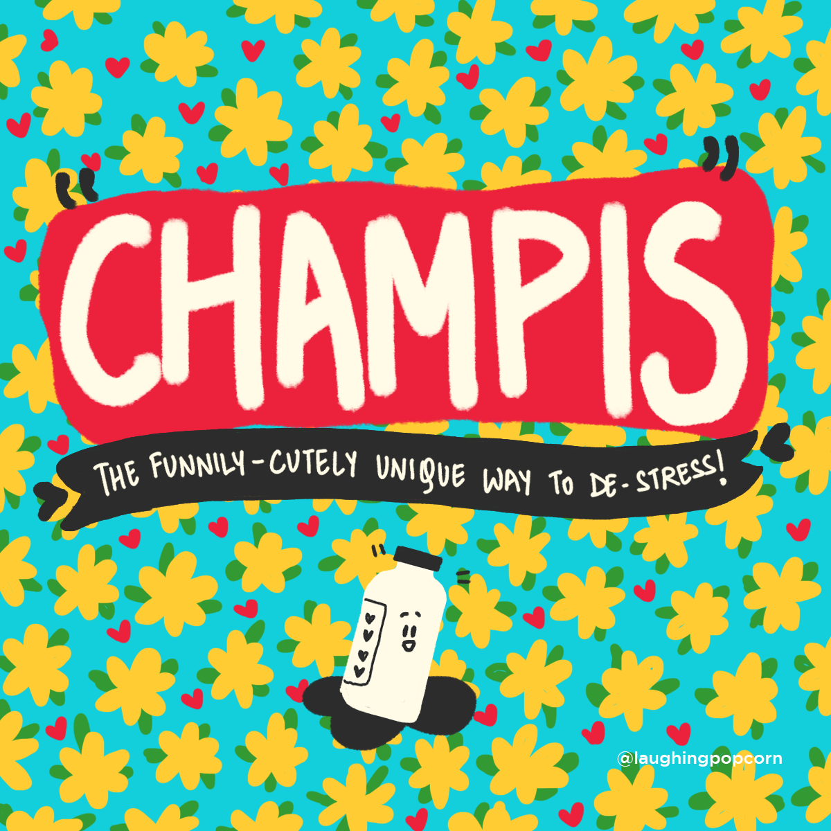 Colorful illustration Creative Direction and Design by Laughing Popcorn showing oil massage champis in a cute way
