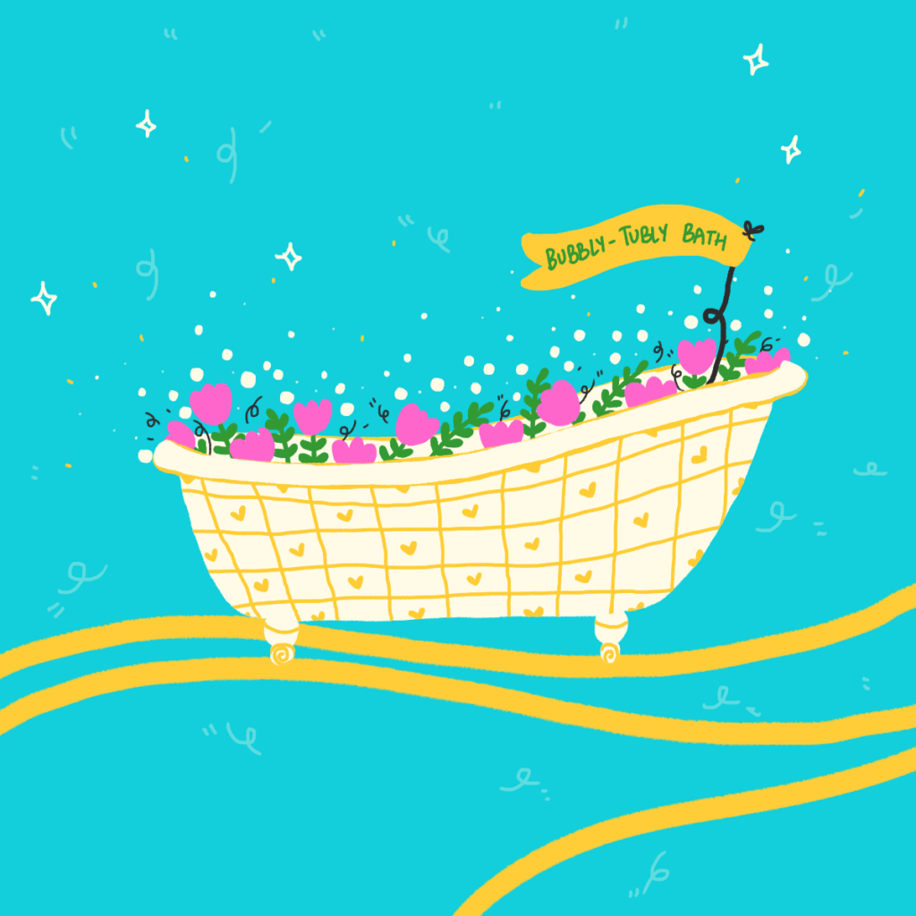 A colorful illustration of a bath tub with cute flowers and bubbles by Laughing Popcorn