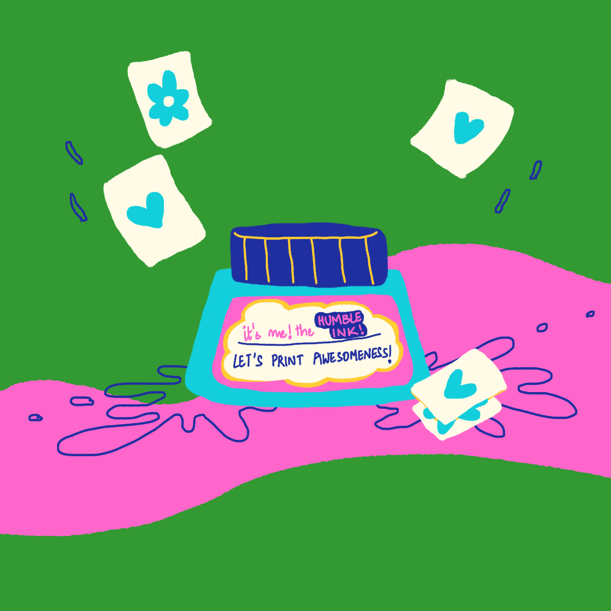 A colorful illustration by Laughing Popcorn showing an ink bottle and it is the cover image of a blog for tips on print checks before printing design files